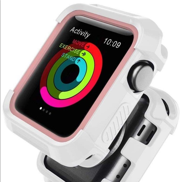 apple Accessories - Apple 44mm White with pink Bumper protector